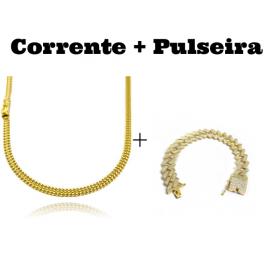kit Corrente Grumet Union 4mm 70cm 15g (Fecho Gaveta) + Pulseira Cuban Link Retangular Cravejada em Zircônia 14mm (32,1g)