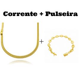kit Corrente Grumet Union 4mm 70cm 15g (Fecho Gaveta) + Pulseira Gucci Link 8mm (9,4g) (Fecho Canhão)