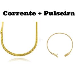 kit Corrente Grumet Union 4mm 70cm 15g (Fecho Gaveta) + Pulseira Rabo de Rato 2mm (Fecho Canhão)