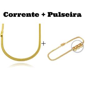 kit Corrente Grumet Union 4mm 70cm 15g (Fecho Gaveta) + Pulseira Veneziana 2,8mm 7g (Fecho Canhão)