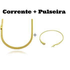 kit Corrente Grumet Union 4mm 70cm 15g (Fecho Gaveta) + Pulseira Veneziana 2mm 6g (Fecho Canhão)