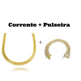 kit Corrente Grumet Union 6mm 60cm (22,1g) (Fecho Gaveta) + Pulseira Cuban Link Retangular Cravejada em Zircônia 14mm (32,1g)