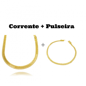 kit Corrente Grumet Union 6mm 60cm (22,1g) (Fecho Gaveta) + Pulseira Grumet Union 3,3mm (Fecho Gaveta)