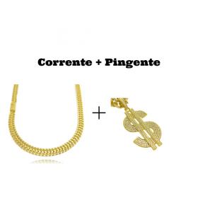kit Corrente Grumet Union 7mm 60cm (32,6g) (Fecho Gaveta) (Banho Ouro 24k) + Pingente Cifrão $ Cravejado em Zircônia (Dourado) 4,6cm X 2,9cm 9g