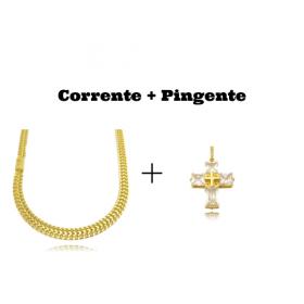 kit Corrente Grumet Union 7mm 60cm (32,6g) (Fecho Gaveta) + Pingente Cruz Com Pedras Quadradas (8g) (3,3cm X 2,6cm)