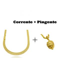kit Corrente Grumet Union 7mm 60cm (32,6g) (Fecho Gaveta) + Pingente Leão Maciço 3,0x2,2cm (17g)