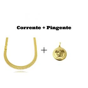 kit Corrente Grumet Union 7mm 60cm (32,6g) (Fecho Gaveta) + Pingente Medusa 2,9cm X 2,9cm (12g)