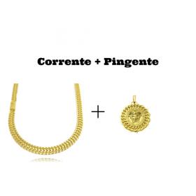kit Corrente Grumet Union 7mm 60cm (32,6g) (Fecho Gaveta) + Pingente Medusa Sun 6,5g 2,7cm x 2,7cm (Banho Ouro 24k)