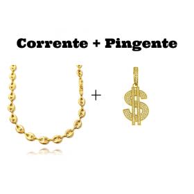 kit Corrente Gucci Link 8mm 60cm (25,6g) + Pingente Cifrão $ Cravejado em Zircônia (Dourado) 4,6cm X 2,9cm 9g