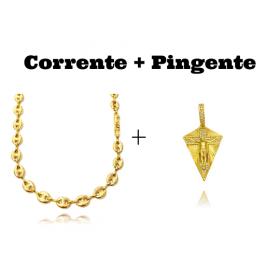 kit Corrente Gucci Link 8mm 60cm (25,6g) + Pingente Cristo Cravejado (4,5cmX2,9cm) (9,2g)
