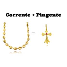 kit Corrente Gucci Link 8mm 60cm (25,6g) + Pingente Crucifixo c/ Pedra Central Vermelha Cravejado em Zircônia (4,5cmX2,9cm) (7,1g)