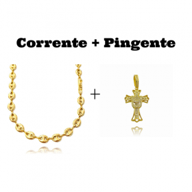kit Corrente Gucci Link 8mm 60cm (25,6g) + Pingente Crucifixo Cravejado (4,5cmX2,9cm) (7g)