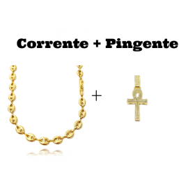 kit Corrente Gucci Link 8mm 60cm (25,6g) + Pingente Crucifixo GDO Cruz Ansata 12g 5,3cm X 3,1cm