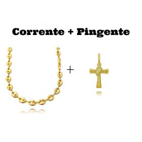 kit Corrente Gucci Link 8mm 60cm (25,6g) + Pingente Crucifixo Trançado Cravejado (4,5cmX3cm) (9,5g)