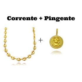 kit Corrente Gucci Link 8mm 60cm (25,6g) + Pingente Medalha Rosto de Cristo Cravejado 3D (4cmX3,5cm) (15,2g)