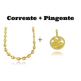 kit Corrente Gucci Link 8mm 60cm (25,6g) + Pingente Medalha São Jorge Vazado Cravejado (4cmX3,6cm) (11g)