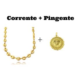 kit Corrente Gucci Link 8mm 60cm (25,6g) + Pingente Medusa Sun 6,5g 2,7cm x 2,7cm