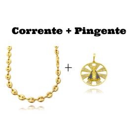 kit Corrente Gucci Link 8mm 60cm (25,6g) + Pingente Nossa Senhora Cravejado Vazado (3,9cmX3,7cm) (8,6g)