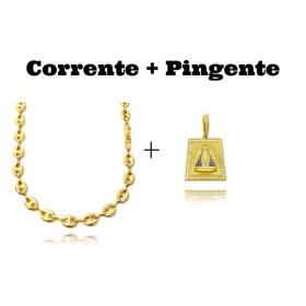 kit Corrente Gucci Link 8mm 60cm (25,6g) + Pingente Placa Nossa Senhora Aparecida Cravejada 1 (3,6cmX2,6cm) (9,9g)
