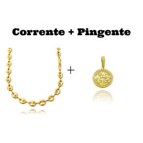 kit Corrente Gucci Link 8mm 60cm (25,6g) + Pingente Santa Ceia Cravejado em Zircônia (3,2X2,8cm) (7,8g)
