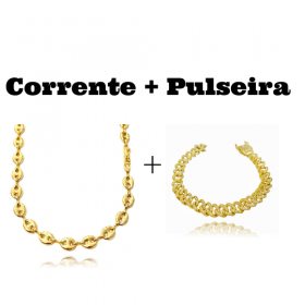 kit Corrente Gucci Link 8mm 60cm (25,6g) + Pulseira Cuban Link Cravejada em Zircônia 10mm (23,6g)
