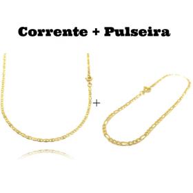 kit Corrente Piastrine 2mm 60cm (Fecho Tradicional) + Pulseira 3 por 1 2mm (Fecho Tradicional)