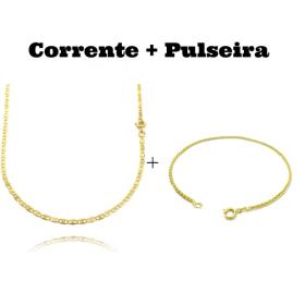 kit Corrente Piastrine 2mm 60cm (Fecho Tradicional) + Pulseira Peruana 2mm (Fecho Tradicional)