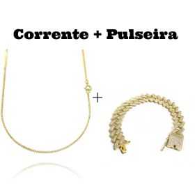 kit Corrente Veneziana 1,2mm 60cm (Fecho Tradicional) + Pulseira Cuban Link Retangular Cravejada em Zircônia 14mm (32,1g)
