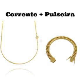 kit Corrente Veneziana 1,2mm 60cm (Fecho Tradicional) + Pulseira Double Grumet 10mm 24g (Fecho Gaveta)