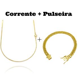 kit Corrente Veneziana 1,2mm 60cm (Fecho Tradicional) + Pulseira Double Grumet 7,5mm 17g (Fecho Gaveta Duplo)