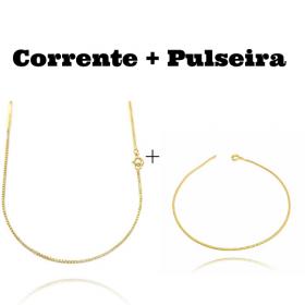 kit Corrente Veneziana 1,2mm 60cm (Fecho Tradicional) + Pulseira Rabo de Rato Quadrada 1,2mm (Fecho Tradicional)