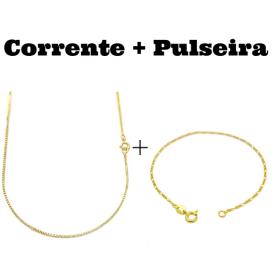kit Corrente Veneziana 1,2mm 70cm (Fecho Tradicional) + Pulseira 3 por 1 1,6mm (Fecho Tradicional)