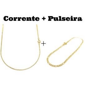 kit Corrente Veneziana 1,2mm 70cm (Fecho Tradicional) + Pulseira 3 por 1 2mm (Fecho Tradicional) (Banho Ouro 24K)