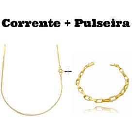 kit Corrente Veneziana 1,2mm 70cm (Fecho Tradicional) + Pulseira Carrier Arredondada Oval 5,5mm (12g) (Fecho Canhão)