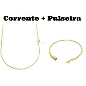 kit Corrente Veneziana 1,2mm 70cm (Fecho Tradicional) + Pulseira Veneziana 2mm 6g (Fecho Canhão)