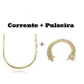 kit Corrente Veneziana 2,8mm 60cm 19,8g (Fecho Canhão) + Pulseira Cuban Link Retangular Cravejada em Zircônia 14mm (32,1g)