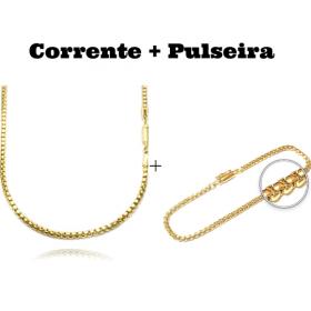 kit Corrente Veneziana 2,8mm 60cm 19,8g (Fecho Canhão) + Pulseira Veneziana 2,8mm 7g (Fecho Canhão)