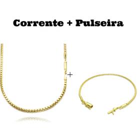 kit Corrente Veneziana 2,8mm 60cm 19,8g (Fecho Canhão) + Pulseira Veneziana 2mm 6g (Fecho Canhão)