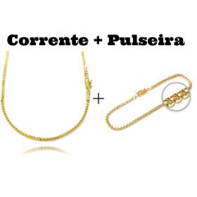 kit Corrente Veneziana 2mm 60cm 13g (Fecho Canhão) + Pulseira Veneziana 2mm 6g (Fecho Canhão)