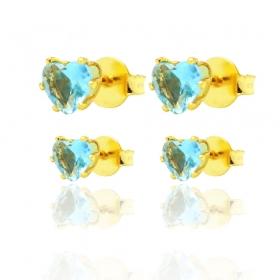 Par de Brincos Coração em Zircônia Azul (Banho Ouro 24k)
