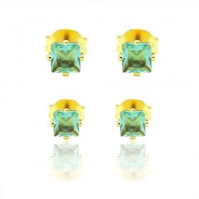 Par de Brincos Quadrado de Zircônia Verde (Banho Ouro 24k)