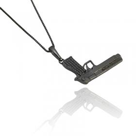 """Pingente Arma """"Desert Eagle .50"""" (2,3cmX3,2cm) (Banho de Ônix)"""