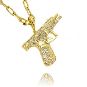 Pingente Arma ICED Cravejada em Zircônia (3,2cmX5,1cm) (14,5g) (Banho Ouro 24k)