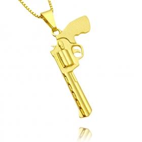 """Pingente Arma Revolver """".38"""" (3,8cmX2,2cm) (Banho Ouro 24k)"""