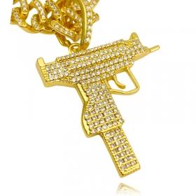 Pingente Arma UZI Cravejado em Zircônia (3,9cmX3,9cm) (Banho Ouro 24k)