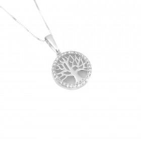 Pingente  Árvore Da Vida Vazado, Cravejado em Zircônia 1,5cm X 1,5cm (Banho Prata 925)