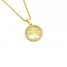 Pingente  Árvore Da Vida Vazado Cravejado em Zircônia 1,5cm X 1,5cm (Banho Ouro 24K)