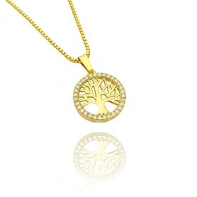 Pingente Árvore Da Vida Vazado Cravejado em Zircônia (1,5cmX1,5cm) (Banho Ouro 24K)