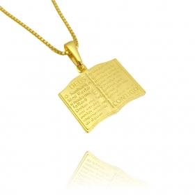 Pingente Bíblia Dupla Face (1,7cmX2cm) (Banho Ouro 24k)