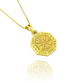 Pingente Bússola Viking Cravejado em Zircônia (2,8cmX2,5cm) (Banho Ouro 24k)